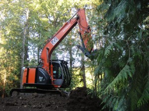 Hitachi on hill | Mcneil Contracting | Nanaimo | Duncan | Cowichan Valley | Vancouver Island | BC